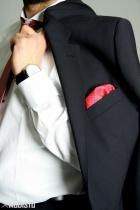 Details vom Anzug mit Einstecktuch